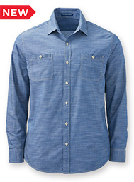 Men's Long-Sleeve Slub Chambray Shirt