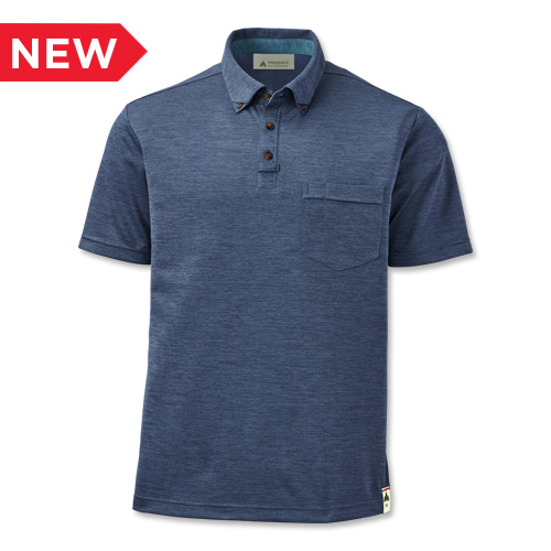 Men?s Eco Short-Sleeve Button-Down Collar Polo