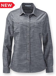 Women's Long-Sleeve Slub Chambray Shirt