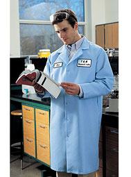 Aramark pocketless snap-front lab coat