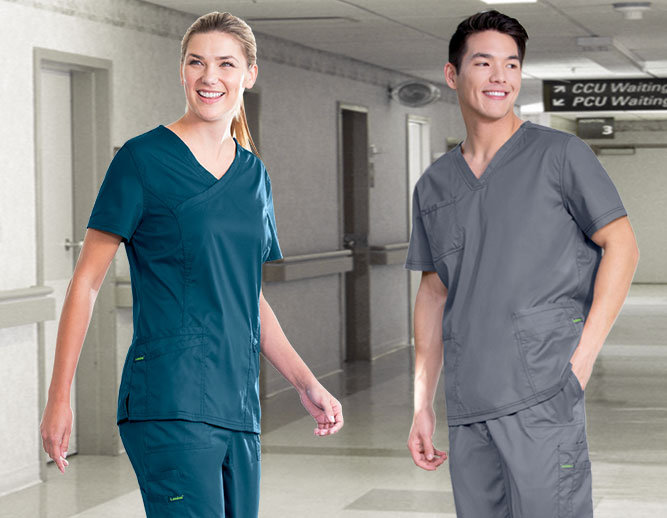 Image of man and woman in scrubs